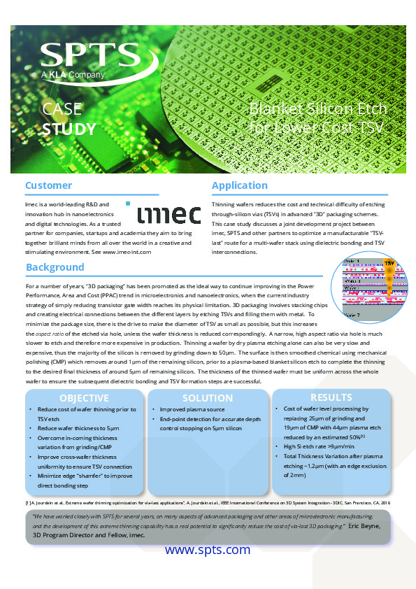 "imec - ""Blanket Silicon Etch for Lower Cost TSV"""